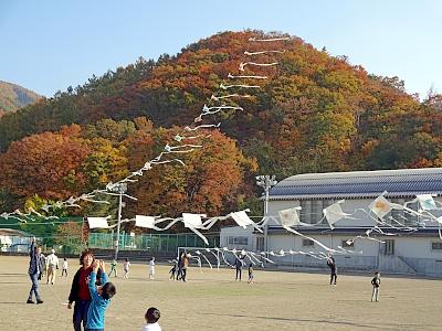 秋の空に揚がっています